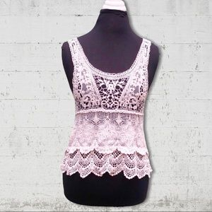Issi Off White Crochet Lace Crop Top Size 8